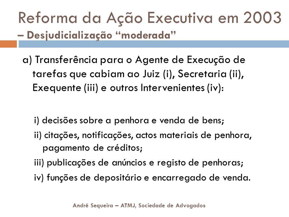 André Sequeira – ATMJ, Sociedade de Advogados Reforma da Ação Executiva em 2003 – Desjudicialização moderada a) Transferência para o Agente de Execuçã