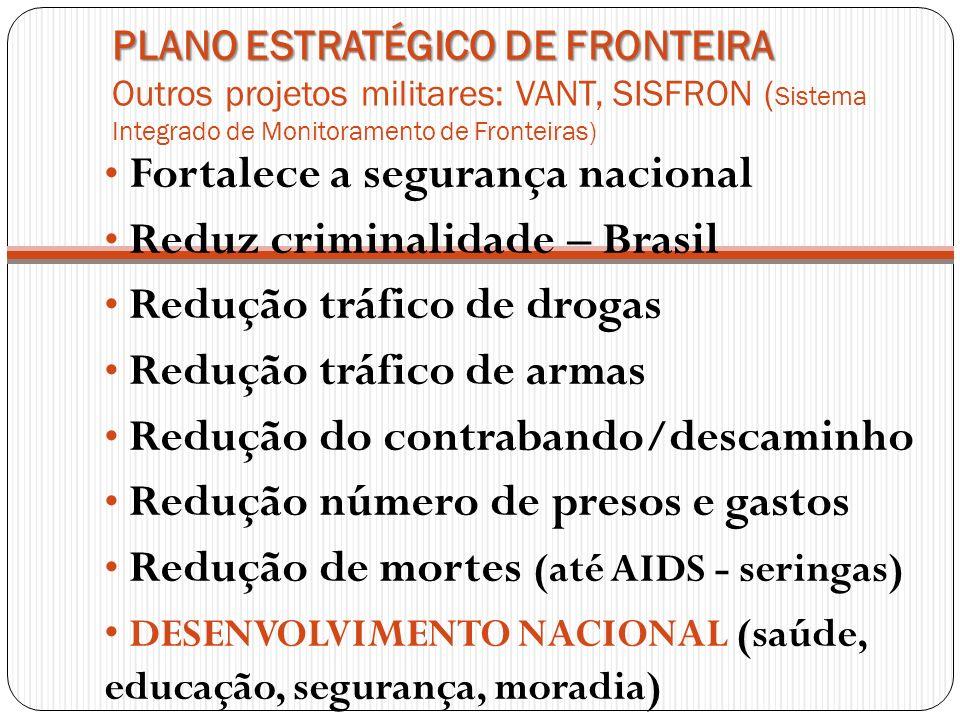PLANO ESTRATÉGICO DE FRONTEIRA PLANO ESTRATÉGICO DE FRONTEIRA Outros projetos militares: VANT, SISFRON ( Sistema Integrado de Monitoramento de Frontei