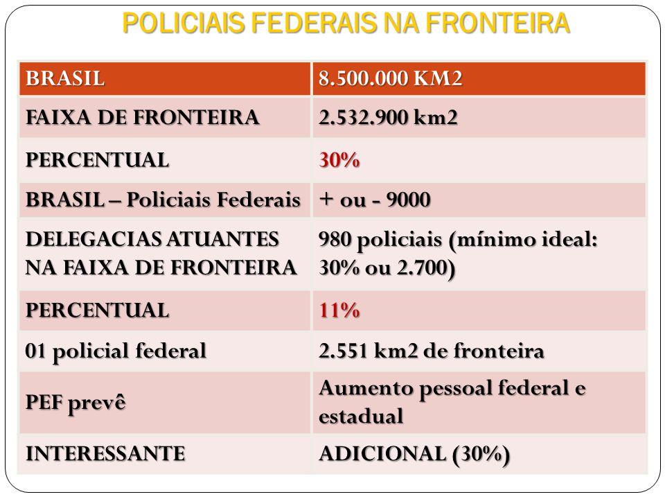 POLICIAIS FEDERAIS NA FRONTEIRA BRASIL 8.500.000 KM2 FAIXA DE FRONTEIRA 2.532.900 km2 PERCENTUAL30% BRASIL – Policiais Federais + ou - 9000 DELEGACIAS