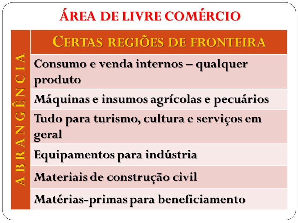 A B R A N G Ê N C I A C ERTAS REGIÕES DE FRONTEIRA Consumo e venda internos – qualquer produto Máquinas e insumos agrícolas e pecuários Tudo para turi