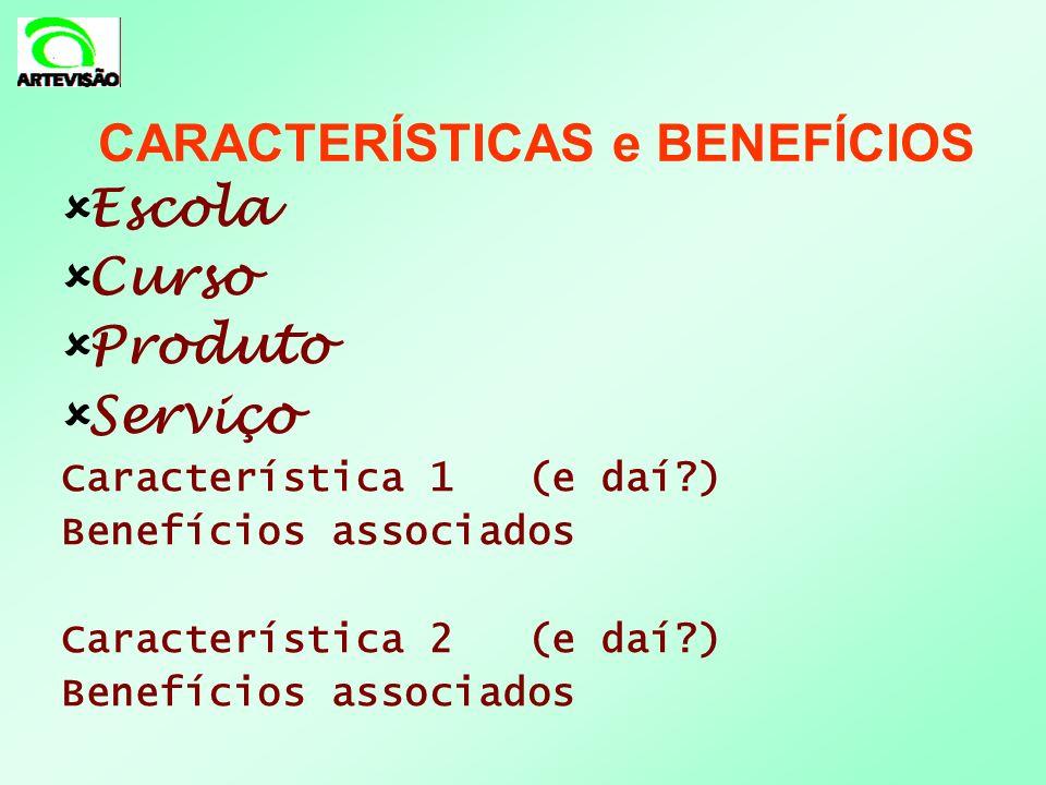 Escola Curso Produto Serviço Característica 1 (e daí?) Benefícios associados Característica 2 (e daí?) Benefícios associados CARACTERÍSTICAS e BENEFÍC