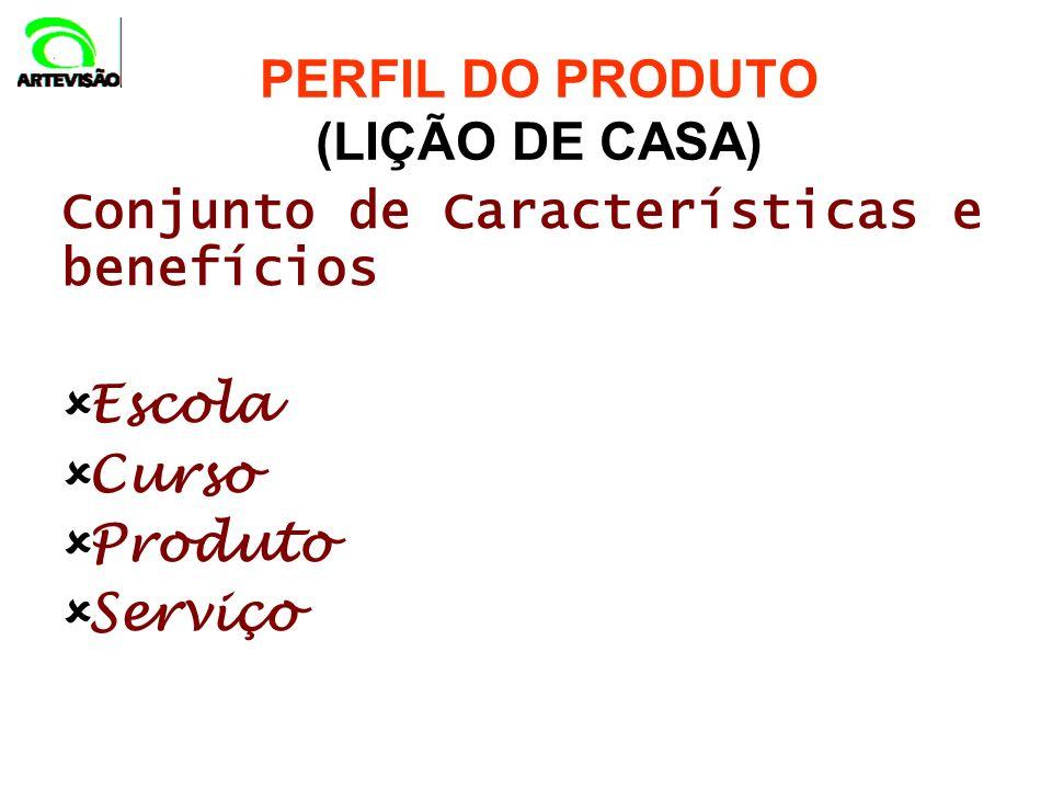 Conjunto de Características e benefícios Escola Curso Produto Serviço PERFIL DO PRODUTO (LIÇÃO DE CASA)