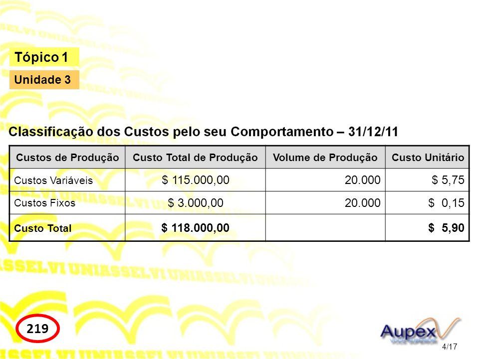 4/17 Tópico 1 219 Unidade 3 Custos de ProduçãoCusto Total de ProduçãoVolume de ProduçãoCusto Unitário Custos Variáveis $ 115.000,0020.000$ 5,75 Custos
