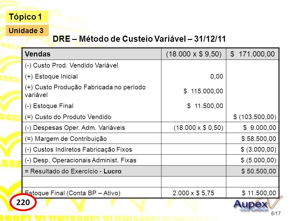 Vendas(18.000 x $ 9,50)$ 171.000,00 (-) Custo Prod. Vendido Variável (+) Estoque Inicial0,00 (+) Custo Produção Fabricada no período variável $ 115.00