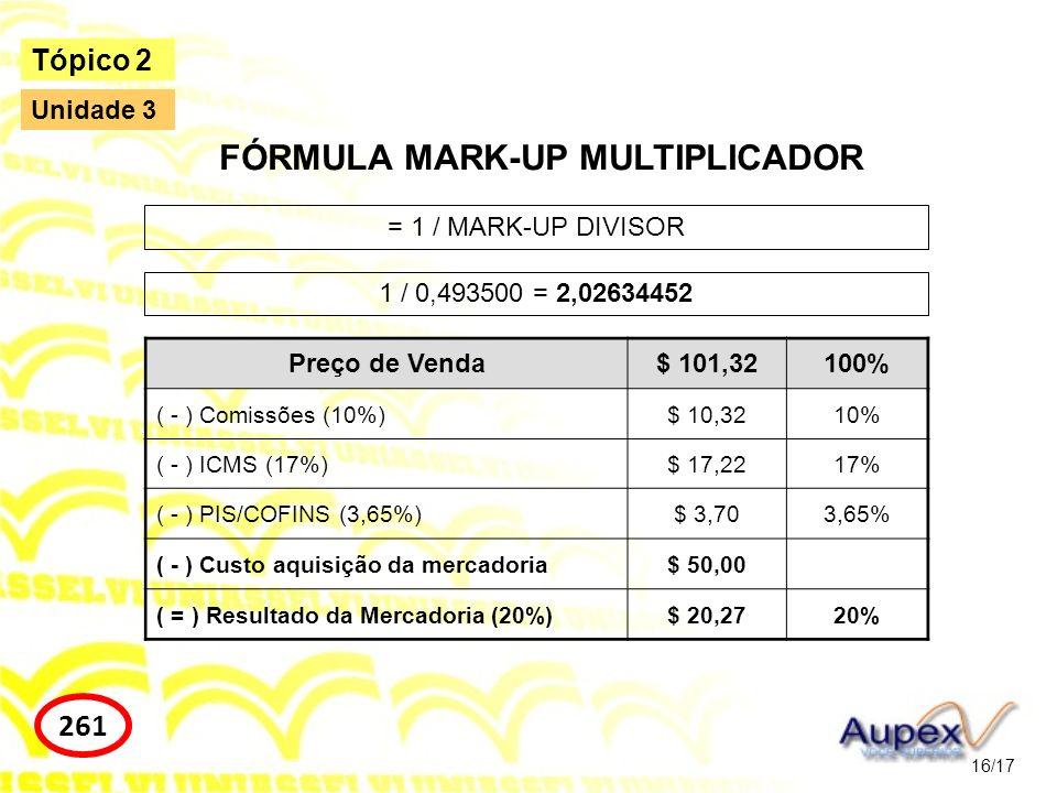 16/17 Tópico 2 261 Unidade 3 FÓRMULA MARK-UP MULTIPLICADOR = 1 / MARK-UP DIVISOR 1 / 0,493500 = 2,02634452 Preço de Venda$ 101,32100% ( - ) Comissões