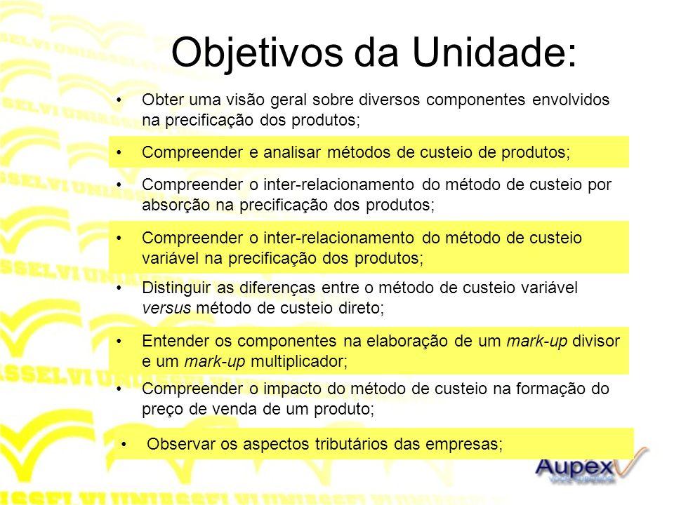 Objetivos da Unidade: Obter uma visão geral sobre diversos componentes envolvidos na precificação dos produtos; Compreender e analisar métodos de cust