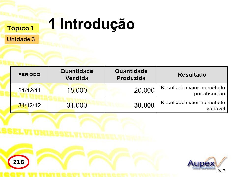 1 Introdução 3/17 Tópico 1 218 Unidade 3 PERÍODO Quantidade Vendida Quantidade Produzida Resultado 31/12/11 18.00020.000 Resultado maior no método por
