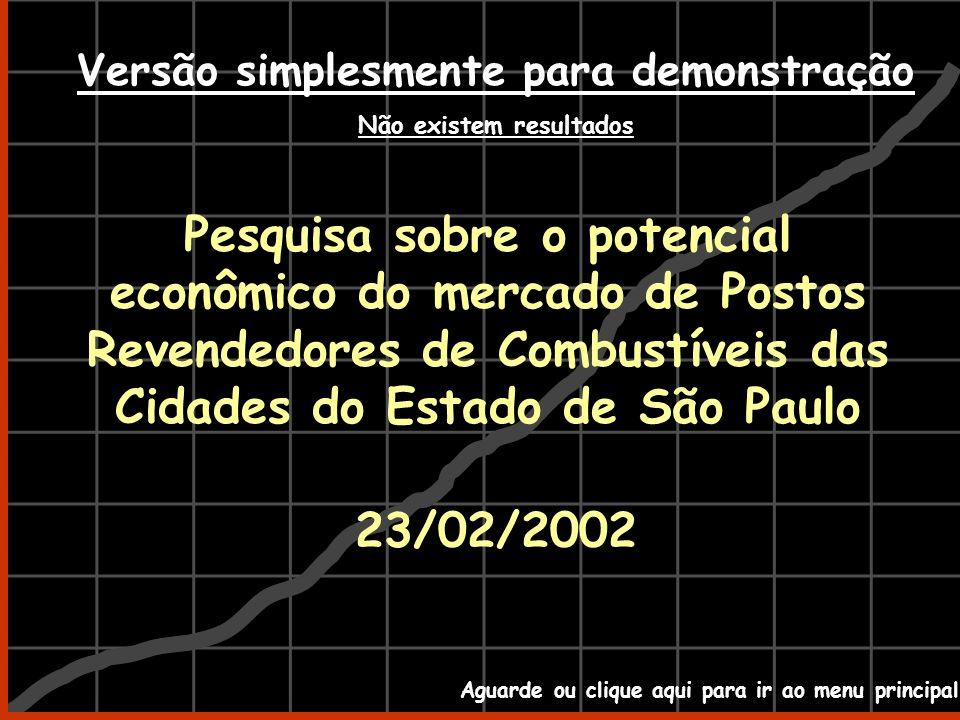 Pesquisa sobre o potencial econômico do mercado de Postos Revendedores de Combustíveis das Cidades do Estado de São Paulo 23/02/2002 Aguarde ou clique