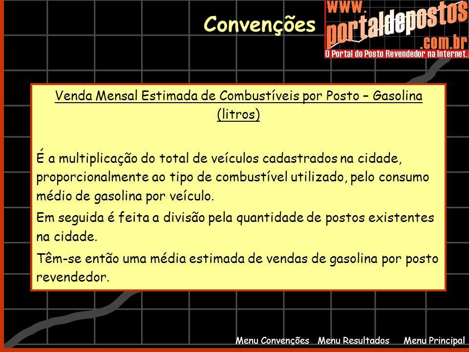 Menu PrincipalMenu Resultados Convenções Menu Convenções Venda Mensal Estimada de Combustíveis por Posto – Gasolina (litros) É a multiplicação do tota