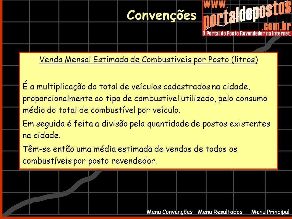 Menu PrincipalMenu Resultados Convenções Menu Convenções Venda Mensal Estimada de Combustíveis por Posto (litros) É a multiplicação do total de veícul