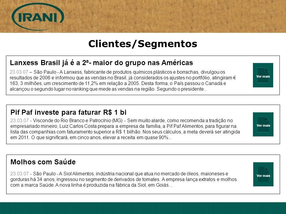 Ver mais Clientes/Segmentos Lanxess Brasil já é a 2ª- maior do grupo nas Américas 23.03.07 – São Paulo - A Lanxess, fabricante de produtos químicos pl