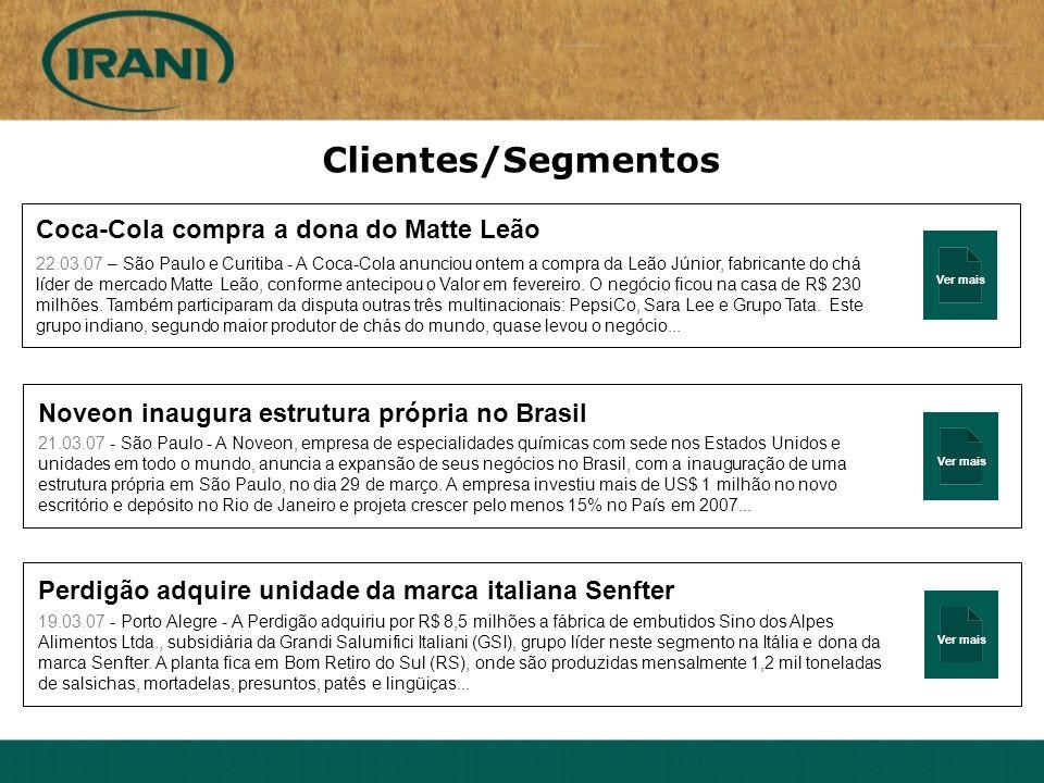 Ver mais Clientes/Segmentos Coca-Cola compra a dona do Matte Leão 22.03.07 – São Paulo e Curitiba - A Coca-Cola anunciou ontem a compra da Leão Júnior