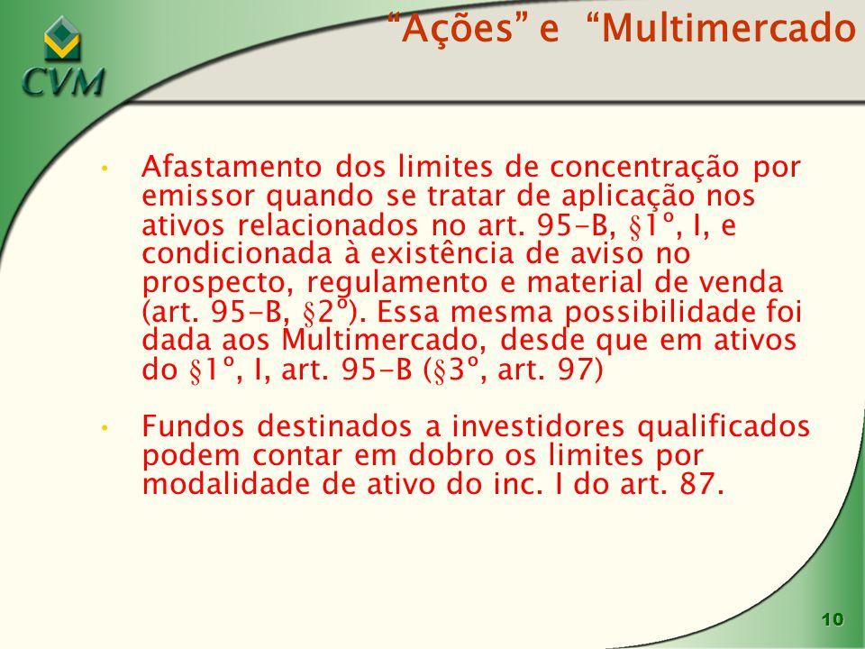 10 Ações e Multimercado Afastamento dos limites de concentração por emissor quando se tratar de aplicação nos ativos relacionados no art.