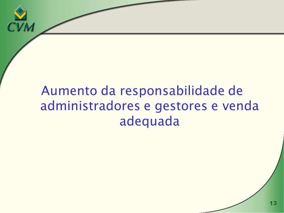 13 Aumento da responsabilidade de administradores e gestores e venda adequada