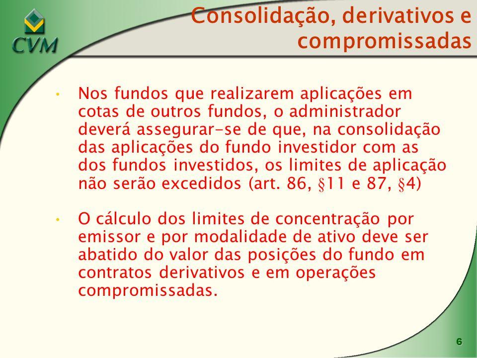 6 Consolidação, derivativos e compromissadas Nos fundos que realizarem aplicações em cotas de outros fundos, o administrador deverá assegurar-se de que, na consolidação das aplicações do fundo investidor com as dos fundos investidos, os limites de aplicação não serão excedidos (art.