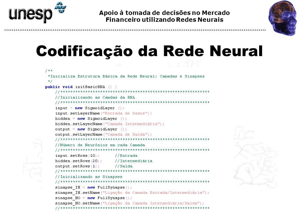 Apoio à tomada de decisões no Mercado Financeiro utilizando Redes Neurais Codificação da Rede Neural