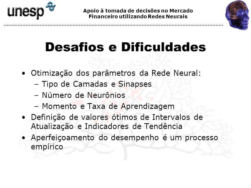 Apoio à tomada de decisões no Mercado Financeiro utilizando Redes Neurais Desafios e Dificuldades Otimização dos parâmetros da Rede Neural: –Tipo de C