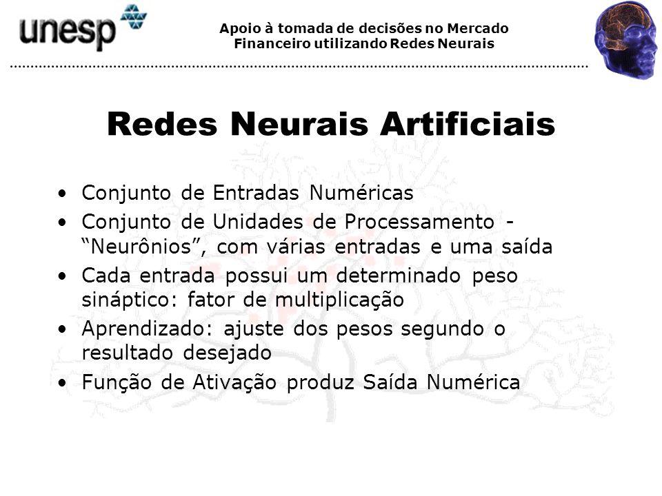 Apoio à tomada de decisões no Mercado Financeiro utilizando Redes Neurais Redes Neurais Artificiais Conjunto de Entradas Numéricas Conjunto de Unidade