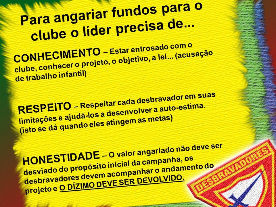 Para angariar fundos para o clube o líder precisa de... CONHECIMENTO – Estar entrosado com o clube, conhecer o projeto, o objetivo, a lei... (acusação