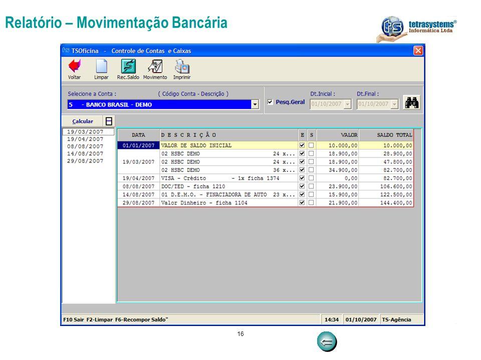 16 Relatório – Movimentação Bancária