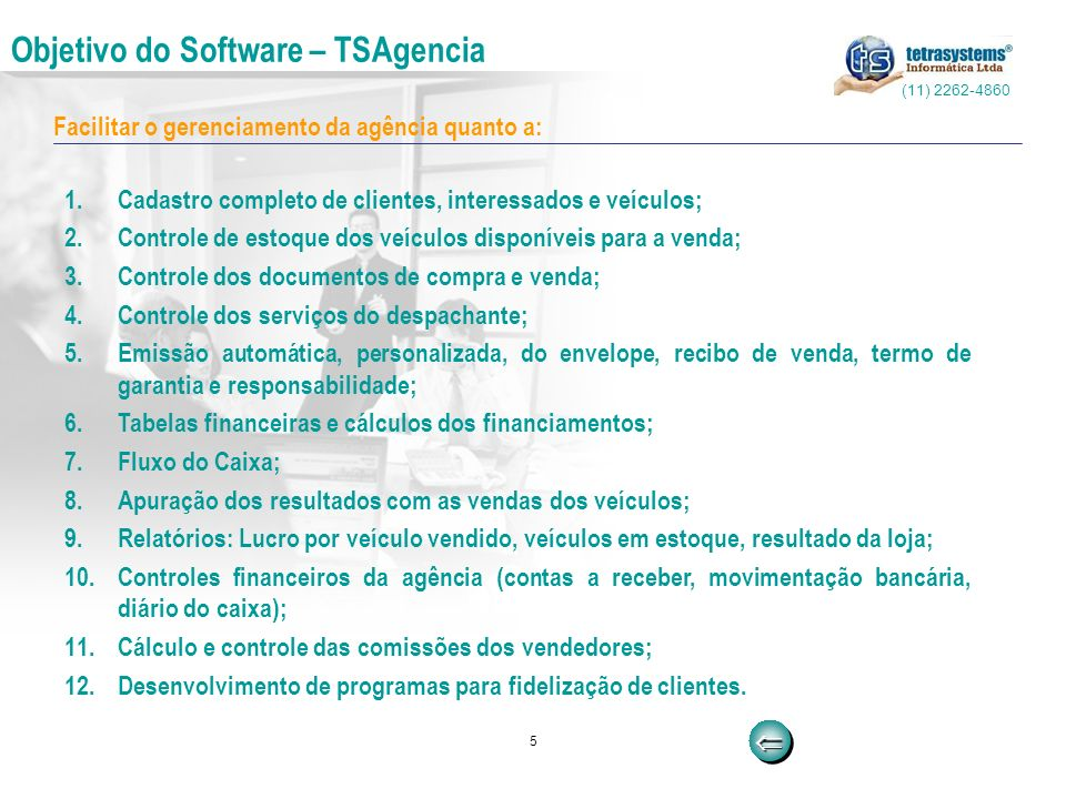 5 Facilitar o gerenciamento da agência quanto a: Objetivo do Software – TSAgencia 1.Cadastro completo de clientes, interessados e veículos; 2.Controle