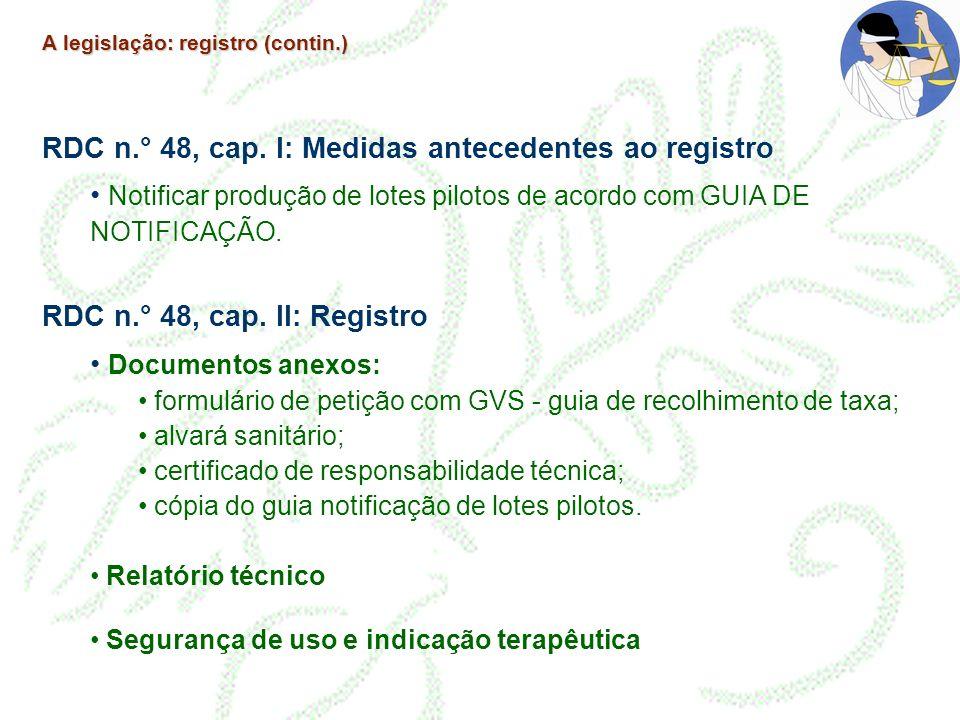 A legislação: registro (contin.) RDC n.° 48, cap. I: Medidas antecedentes ao registro Notificar produção de lotes pilotos de acordo com GUIA DE NOTIFI