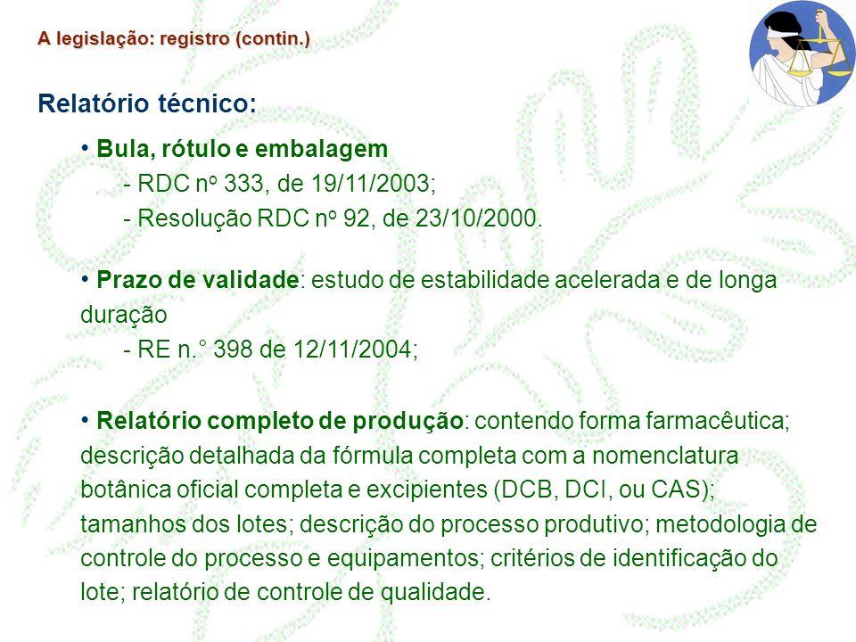 A legislação: registro (contin.) Relatório técnico: Bula, rótulo e embalagem - RDC n o 333, de 19/11/2003; - Resolução RDC n o 92, de 23/10/2000. Praz