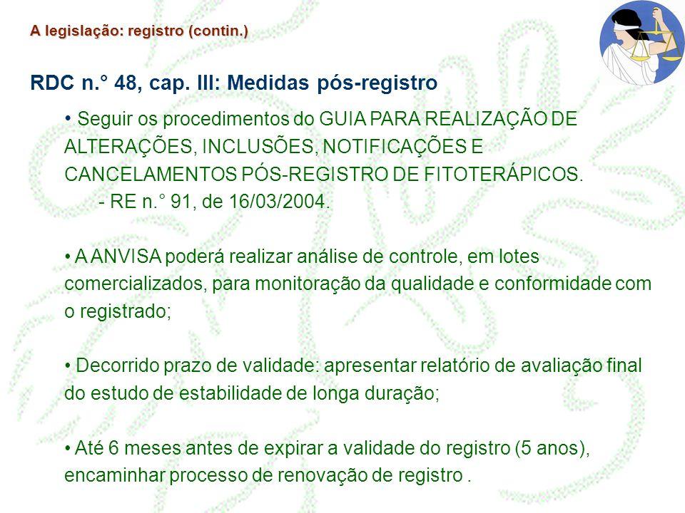 A legislação: registro (contin.) RDC n.° 48, cap. III: Medidas pós-registro Seguir os procedimentos do GUIA PARA REALIZAÇÃO DE ALTERAÇÕES, INCLUSÕES,