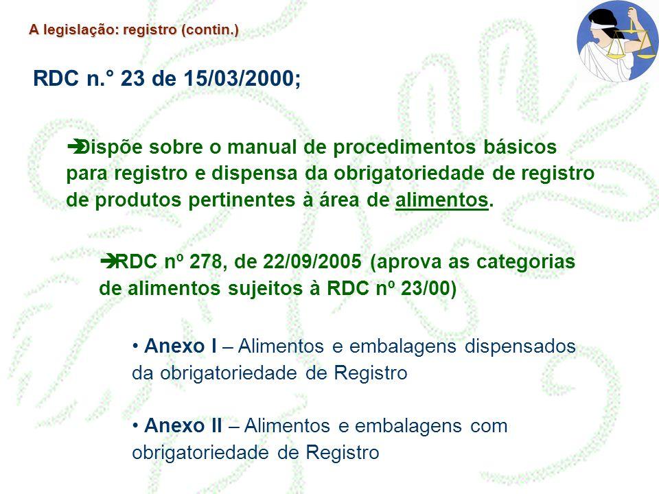 A legislação: registro (contin.) RDC n.° 23 de 15/03/2000; Dispõe sobre o manual de procedimentos básicos para registro e dispensa da obrigatoriedade