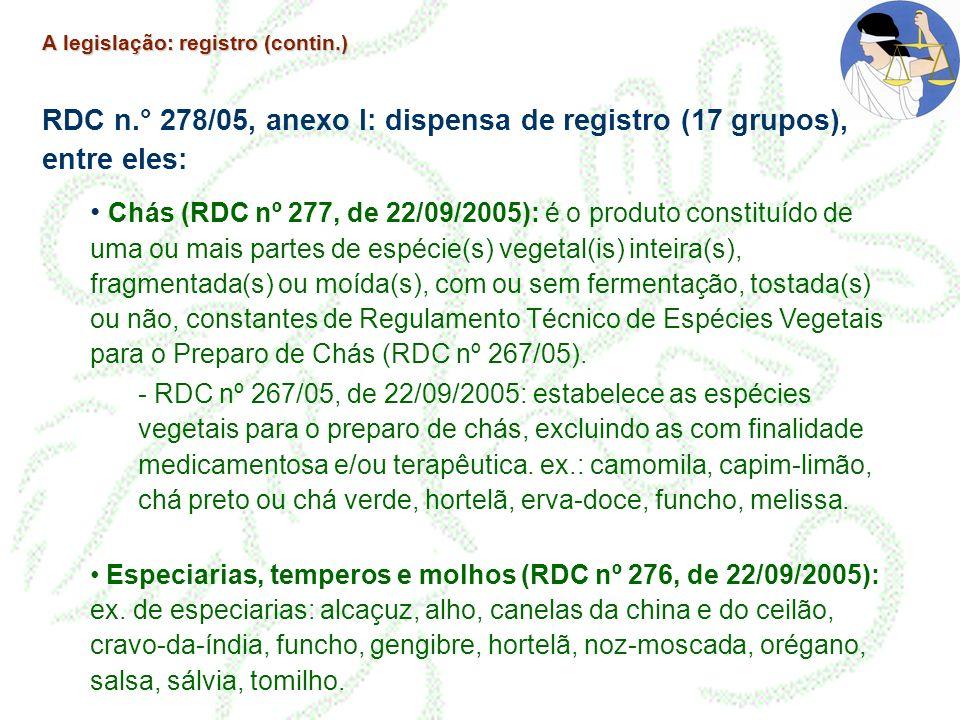 A legislação: registro (contin.) RDC n.° 278/05, anexo I: dispensa de registro (17 grupos), entre eles: Chás (RDC nº 277, de 22/09/2005): é o produto