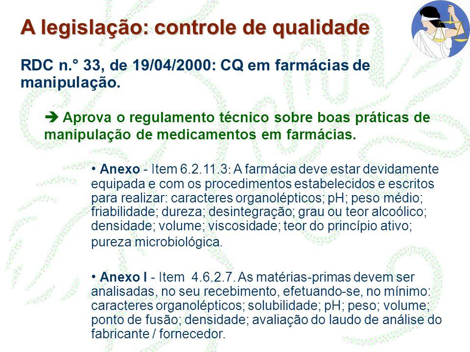 A legislação: controle de qualidade RDC n.° 33, de 19/04/2000: CQ em farmácias de manipulação. Aprova o regulamento técnico sobre boas práticas de man