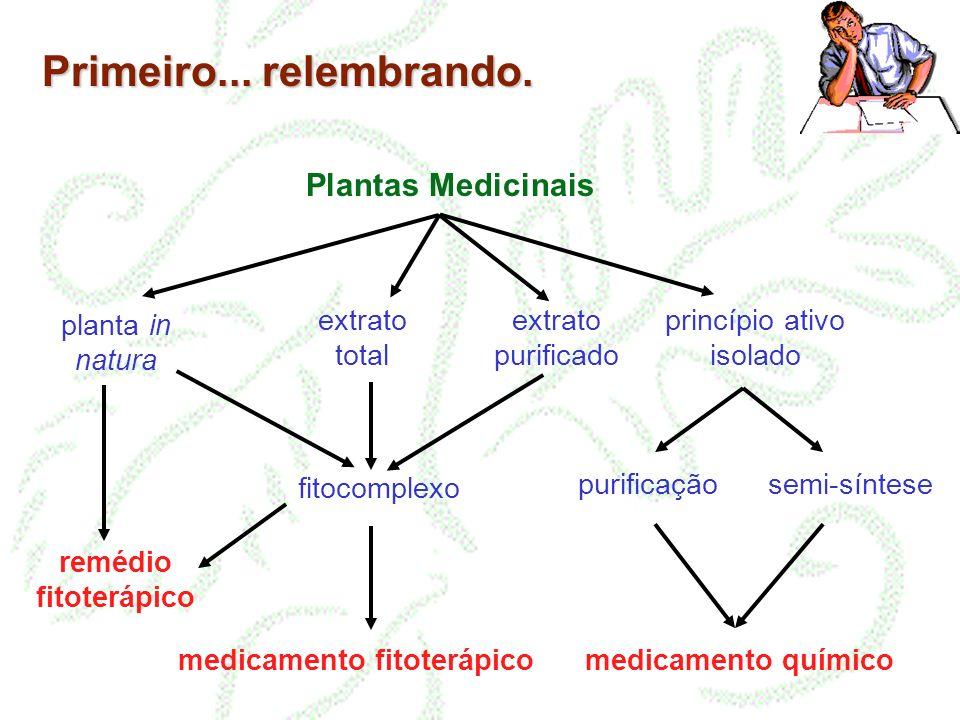 Primeiro... relembrando. Plantas Medicinais planta in natura extrato total extrato purificado princípio ativo isolado purificação semi-síntese fitocom