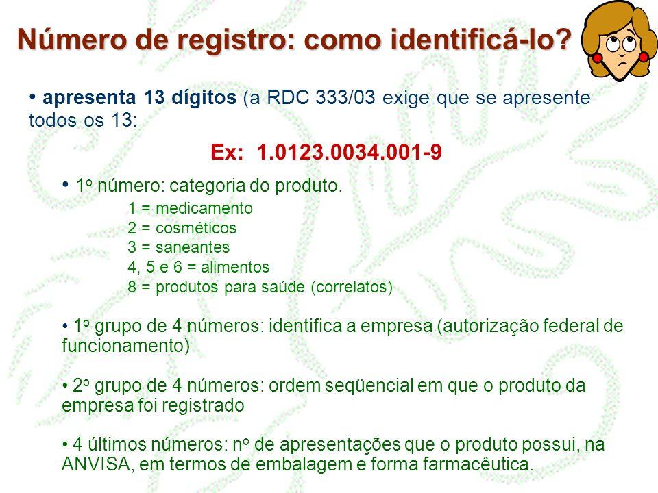 Número de registro: como identificá-lo? apresenta 13 dígitos (a RDC 333/03 exige que se apresente todos os 13: Ex: 1.0123.0034.001-9 1 o número: categ