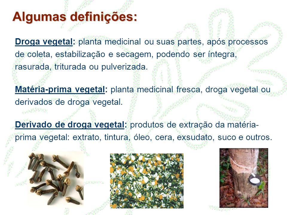 Algumas definições: Droga vegetal: planta medicinal ou suas partes, após processos de coleta, estabilização e secagem, podendo ser íntegra, rasurada,
