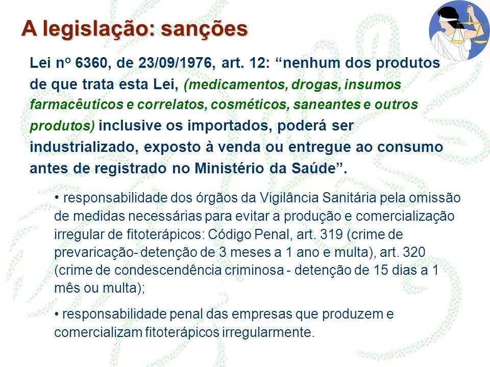 A legislação: sanções Lei n o 6360, de 23/09/1976, art. 12: nenhum dos produtos de que trata esta Lei, ( medicamentos, drogas, insumos farmacêuticos e