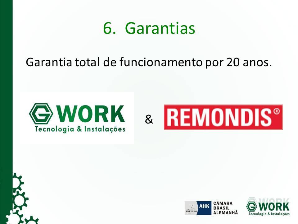 6. Garantias Garantia total de funcionamento por 20 anos. &