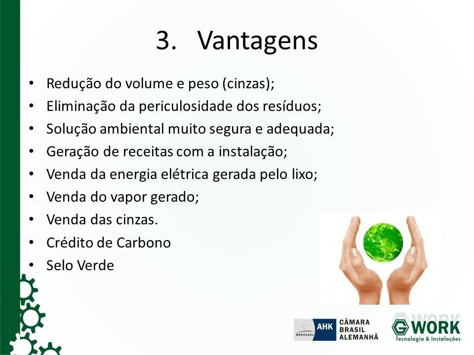 3. Vantagens Redução do volume e peso (cinzas); Eliminação da periculosidade dos resíduos; Solução ambiental muito segura e adequada; Geração de recei