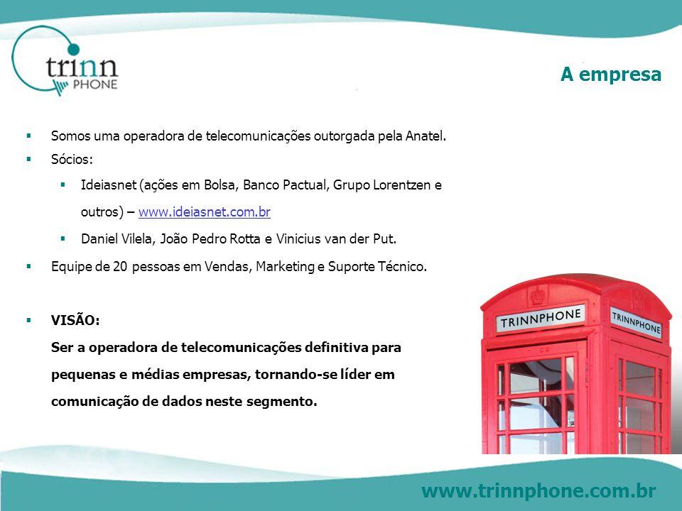 www.trinnphone.com.br A empresa Somos uma operadora de telecomunicações outorgada pela Anatel. Sócios: Ideiasnet (ações em Bolsa, Banco Pactual, Grupo