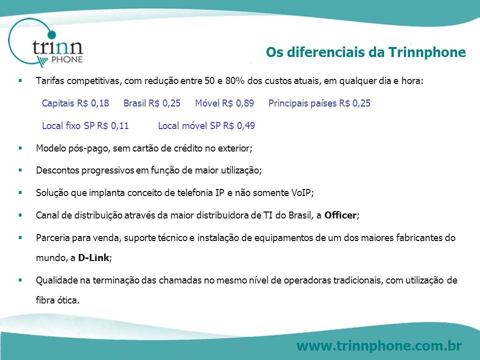 www.trinnphone.com.br A oferta da Trinnphone Modelo pós-pago, com consulta conta on-line via site, mediante usuário e senha Aplicação para chamadas, a partir de telefones fixos: interurbanas (DDD) e internacionais (DDI) para qualquer cidade do Brasil ou do mundo, para qualquer número fixo ou móvel; ligações locais para cidades de Rio de Janeiro e São Paulo, fixos e móveis.