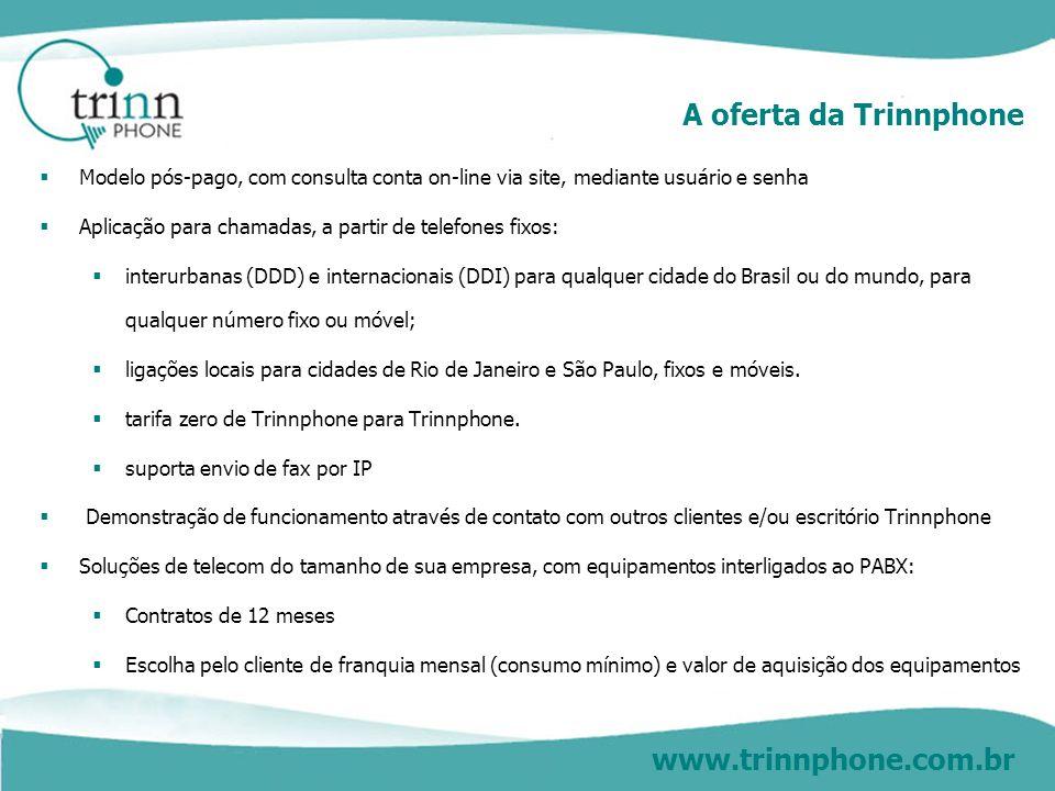 www.trinnphone.com.br A oferta da Trinnphone Modelo pós-pago, com consulta conta on-line via site, mediante usuário e senha Aplicação para chamadas, a