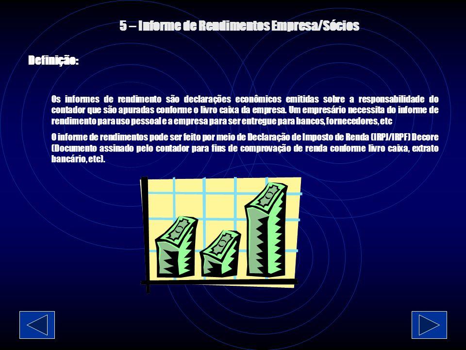 4 – Livro Caixa Definição: É onde é feito todos os registros de entrada/saída da empresa.