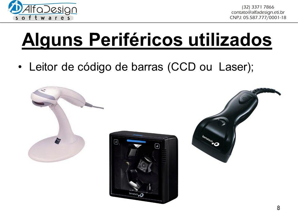 8 Alguns Periféricos utilizados Leitor de código de barras (CCD ou Laser);