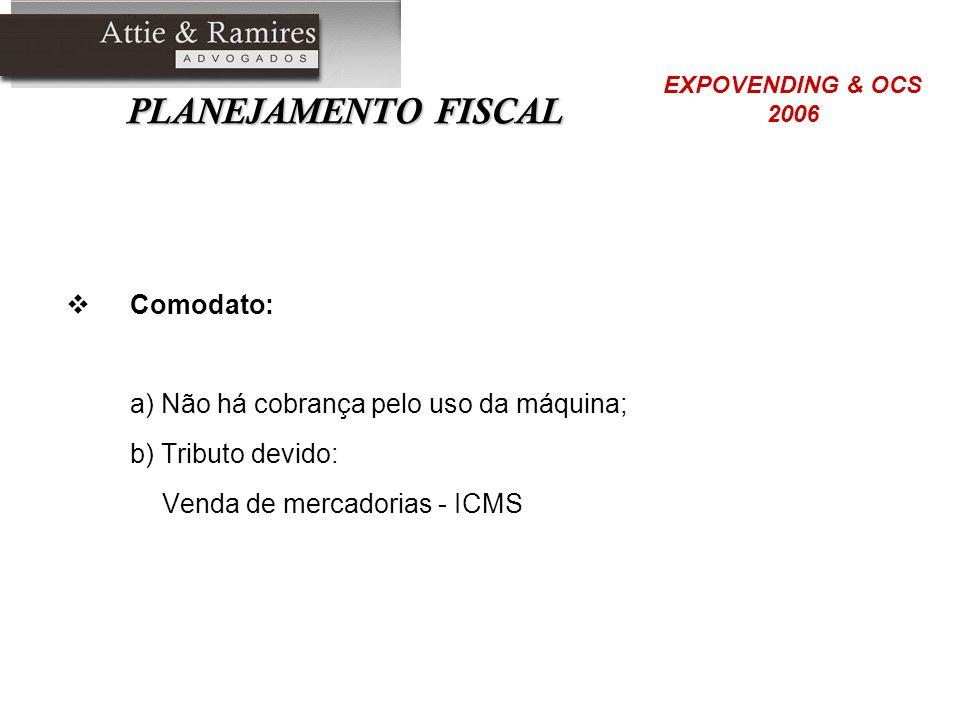 PLANEJAMENTO FISCAL Comodato: a) Não há cobrança pelo uso da máquina; b) Tributo devido: Venda de mercadorias - ICMS EXPOVENDING & OCS 2006