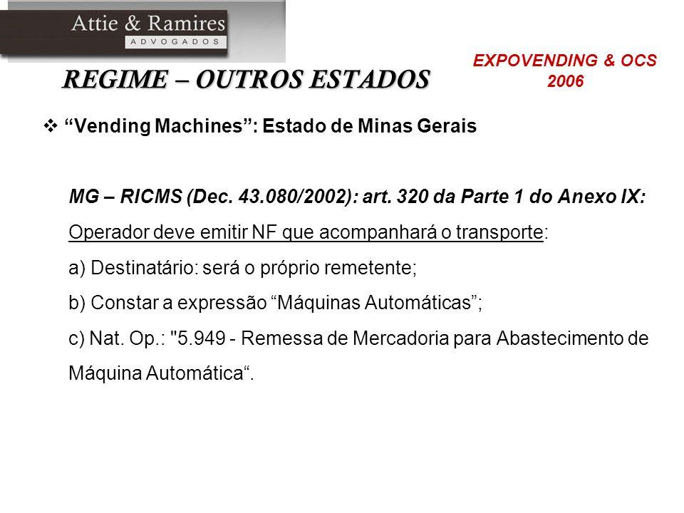 REGIME – OUTROS ESTADOS Vending Machines: Estado de Minas Gerais MG – RICMS (Dec. 43.080/2002): art. 320 da Parte 1 do Anexo IX: Operador deve emitir