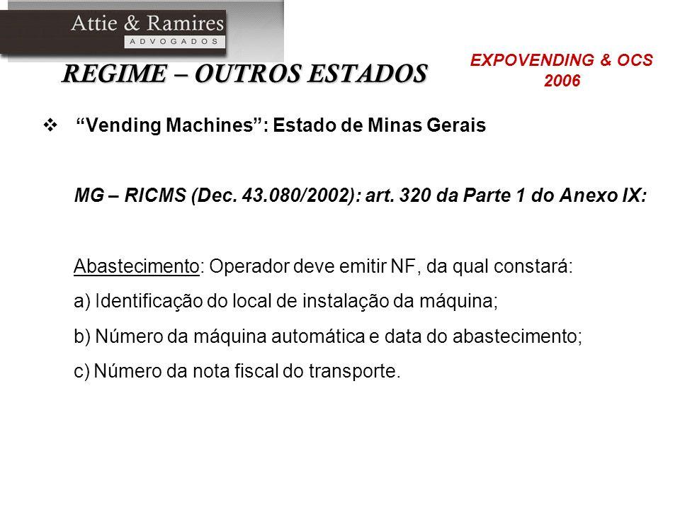 REGIME – OUTROS ESTADOS Vending Machines: Estado de Minas Gerais MG – RICMS (Dec. 43.080/2002): art. 320 da Parte 1 do Anexo IX: Abastecimento: Operad