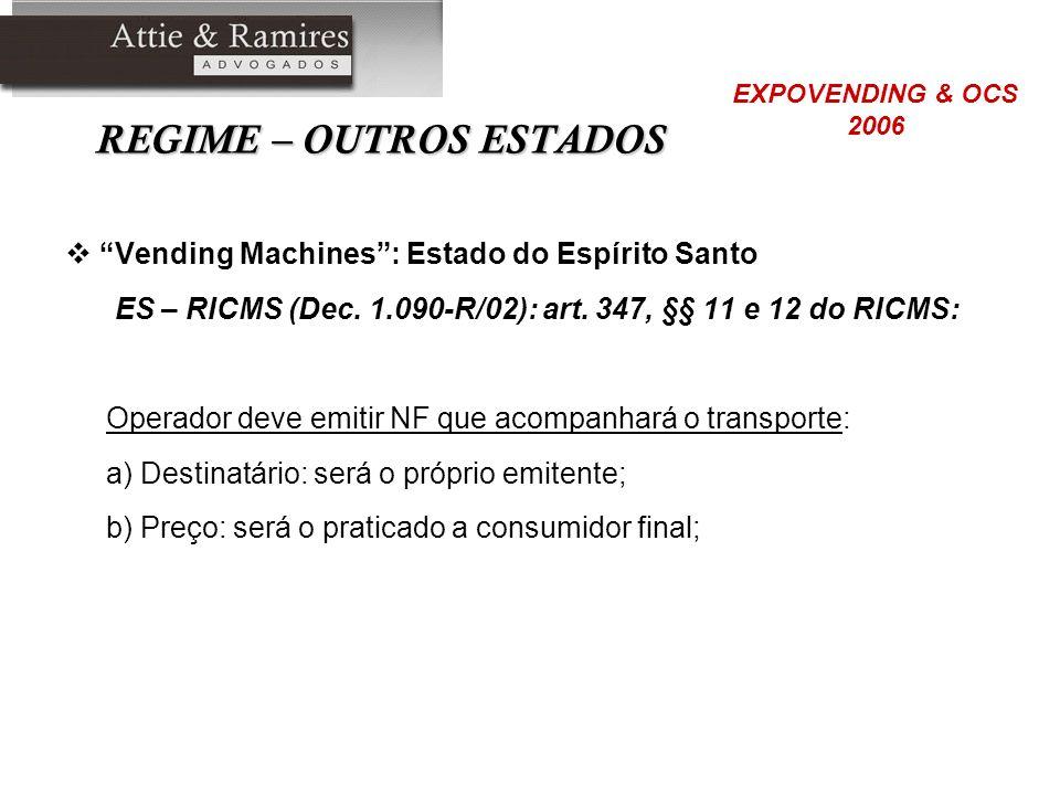 REGIME – OUTROS ESTADOS Vending Machines: Estado do Espírito Santo ES – RICMS (Dec. 1.090-R/02): art. 347, §§ 11 e 12 do RICMS: Operador deve emitir N
