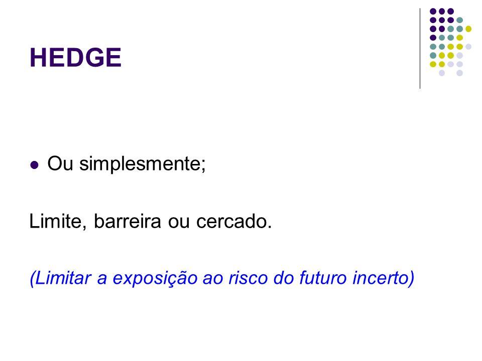 HEDGE Ou simplesmente; Limite, barreira ou cercado. (Limitar a exposição ao risco do futuro incerto)