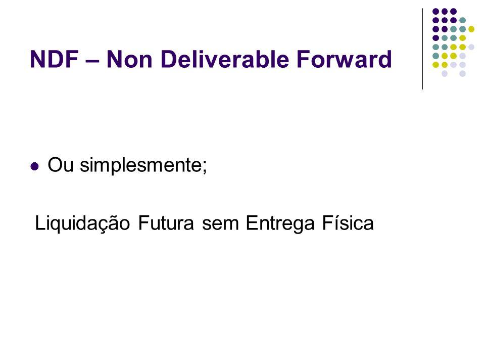 NDF – Non Deliverable Forward Ou simplesmente; Liquidação Futura sem Entrega Física