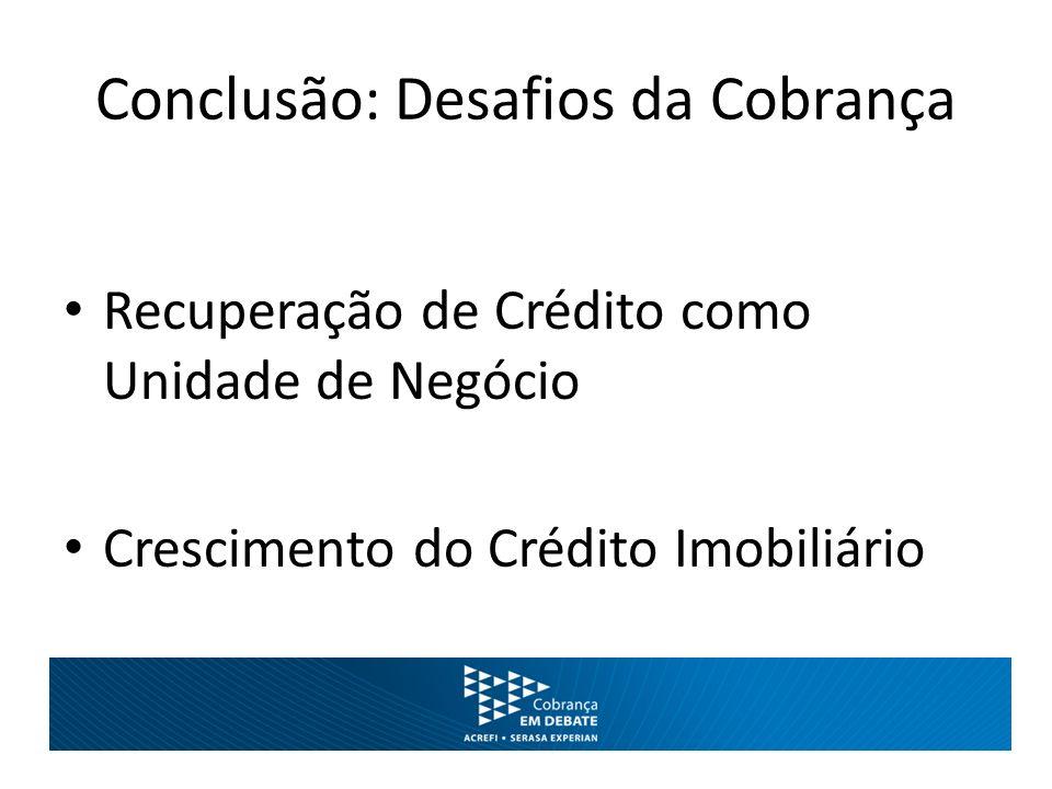 Conclusão: Desafios da Cobrança Recuperação de Crédito como Unidade de Negócio Crescimento do Crédito Imobiliário