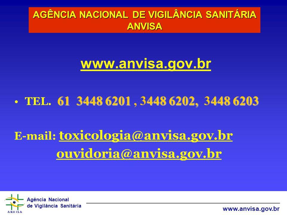 Agência Nacional de Vigilância Sanitária www.anvisa.gov.br CIAT´S e ANVISA O Brasil possui atualmente 38 CIATs pertencentes a uma Rede que participam das ações de Toxicovigilância e a Farmacovigilância regulamentados pela R.D.C nº.